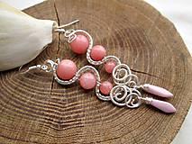 Náušnice - ružový jadeit - 7289745_