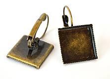 Komponenty - Náušnicové lôžka štvorec f. starobronz vrúbkované 15x15mm, /NVS15sb/ - 7289782_