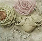 Papier - S868 - Servítky - svadba, ruža, hrdličky, srdce, wedding, láska, love - 7296999_