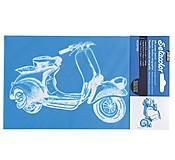Pomôcky/Nástroje - Šablóna Pébéo na textil, A5 - princíp sieťotlače - skúter, moped - 7297478_