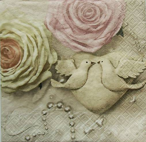 S868 - Servítky - svadba, ruža, hrdličky, srdce, wedding, láska, love