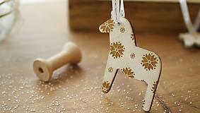 Dekorácie - Vianočná drevené ozdoba, kôň Dala - 7295540_