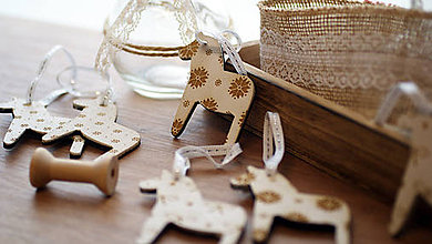 Dekorácie - Sada drevených vianočných ozdôb 9 ks - 7297075_
