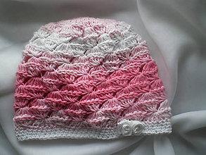 Detské čiapky - Detská  ružovo-biela čiapka-ružička - 7295973_