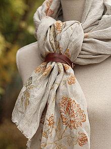 Šály - Elegantný dámsky ľanový šál ručnou potlačou kvetín - 7296197_