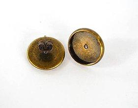 Komponenty - Lôžko na náušnice, starobronz, 12 mm, 1 pár s kovovými zarážkami /NN2sb/ - 7293918_