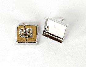 Komponenty - Náušnice lôžka štvorec, f. strieborná, 1 pár s kovovými zarážkami /NNS2/ - 7294288_