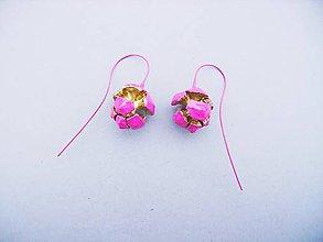 Náušnice - Cyprusové šišky (ružovo-zlaté) - 7296560_