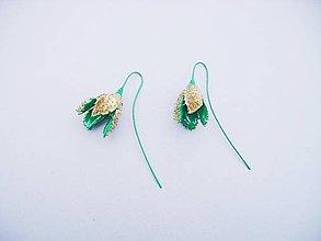 Náušnice - Bukvice (zeleno-zlaté) - 7296595_