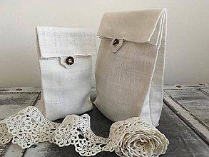 Úžitkový textil - Vrecko na chlieb a pečivo z ručne tkaného ľanu - 7294104_