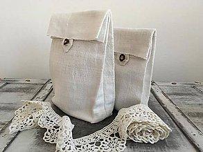 Úžitkový textil - Vrecúško z ručne tkaného ľanu - 7294128_