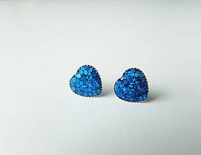 Náušnice - Živicové náušnice Srdce modré - 7299464_