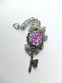Náhrdelníky - Živicový náhrdelník Kľúč od Lásky - 7300340_