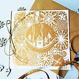 Grafika - Vianočná pohľadnica * Zimná dedinka - 7299669_