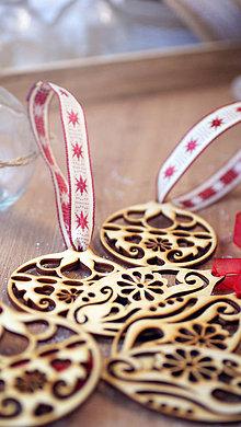 Dekorácie - Sada drevených vianočných ozdôb 6 ks - 7300734_