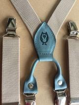 - Pánske, štýlové, béžové traky s modrou kožou - 7299194_