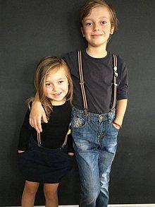Detské doplnky - Detské, štýlové, páskované traky s červenou kožou, veľ.2-6rokov - 7298930_