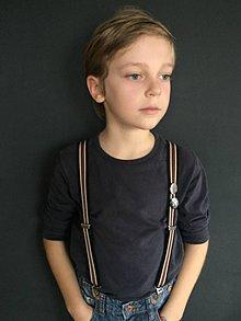 Detské doplnky - Detské, štýlové, páskované traky s červenou kožou, veľ.6-10rokov - 7298992_