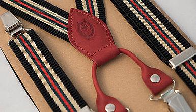 Doplnky - Pánske, štýlové, páskované traky s červenou kožou - 7299051_