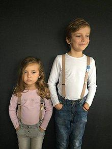 Detské doplnky - Traky pre dievčatká s ružovou kožou, veľ.6-10rokov - 7299099_
