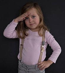 Detské doplnky - Detské, štýlové, béžové traky s modrou kožou, veľ.2-6rokov - 7299138_