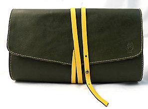 Kabelky - Nádherný, kožený, zeleno-žltý clutch - 7299444_