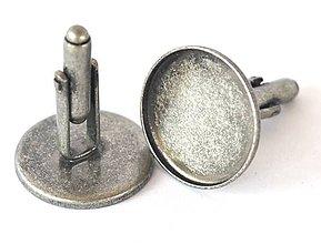 Galantéria - Manžetové gombíky lôžka, 20 mm, farba starostriebro, plytké /MG20starostr.a/ - 7298437_