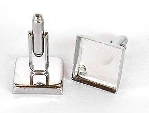 Komponenty - Manžetové gombíky lôžka,16 mm, štvorec,farba platina /MG16sp/ - 7298500_