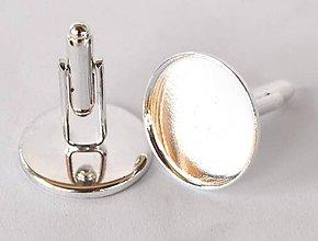 Komponenty - Manžetové gombíky lôžka, 20 mm, farba strieborná, plytké /MG20a/ - 7298568_