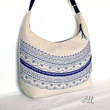 Kabelky - Kabelka s modrou výšivkou a krajkou - 7301072_