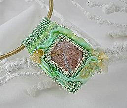 Náhrdelníky - Hodvábny náhrdelník s jaspisom, citrínom, zelený, zľava 60% - 7299424_