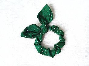 Ozdoby do vlasov - Mini scrunchie (dark green/white dots) - 7304095_