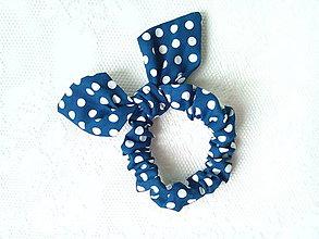 Ozdoby do vlasov - Mini scrunchie (navy/white polka dots) - 7304306_