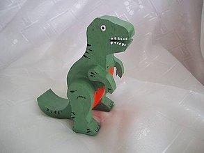 Pomôcky - Drevený dinosaurus - stojan na telefón - 7304466_