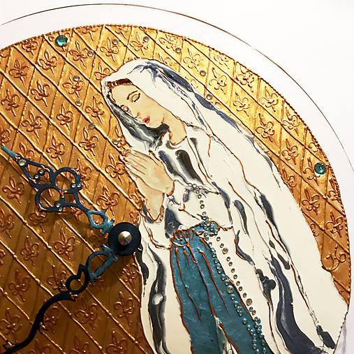 Ručne maľované hodiny - Panna Mária Lurdská