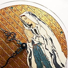 Obrazy - Ručne maľované hodiny - Panna Mária Lurdská - 7303123_