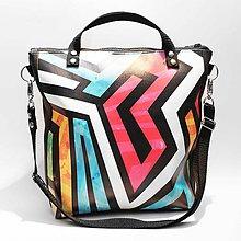 Kabelky - Punky 3 - farebná štýlová kabelka na rameno s originálnym dizajnom a abstraktnou potlačou - 7303482_