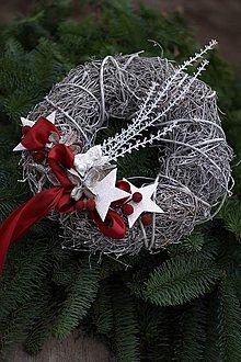 Dekorácie - Vianočný veniec na dvere bordó - 7305728_