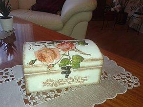 Krabičky - Drevená truhlica - Vôňa ruže - 7305046_