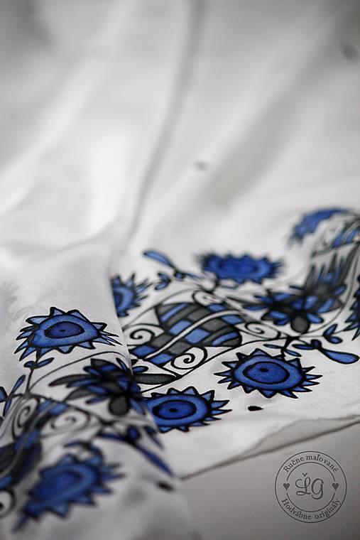 hodvábna šatka ZÁRIEČIE modré