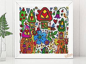 Kresby - Maľovaný obrázok DOMČEKY - 7304787_