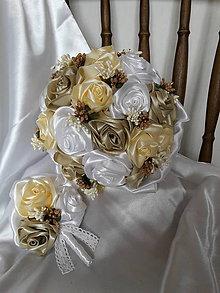 Kytice pre nevestu - Saténové ruže-krém,cappuccino - 7304975_