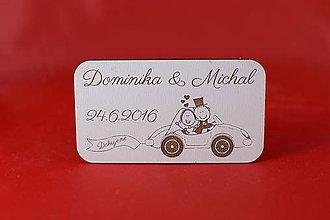 Darčeky pre svadobčanov - Svadobná magnetka ako darček pre hosti z bieleho sololitu 1 - 7305785_