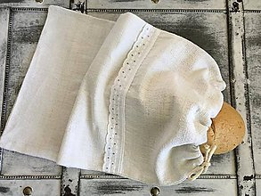 Úžitkový textil - Vrecko na chlieb z ručne tkaného ľanu 24x37 cm - 7303640_