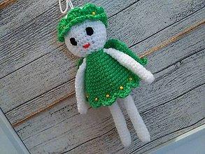 Dekorácie - anjelik - dekorácia 10 / zeleno/biely/ - 7304102_