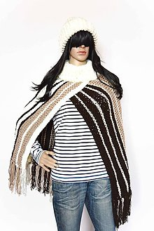 Iné oblečenie - _BoHo & CHiC... na indiánske motívy... Pončo... STRiPeS iN BRoWN... VLNa... - 7311549_