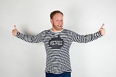 Tričká - Pánske tričko s dlhým rukávom - popisovateľné kriedou - alebo tabuľa na tričku - 7311374_