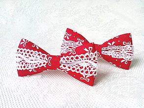 Ozdoby do vlasov - Romantic hair bows (red/white) - 7309119_
