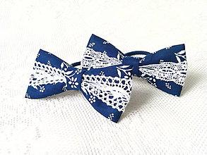 Ozdoby do vlasov - Folklore hair bows (dark blue/white) - 7309142_