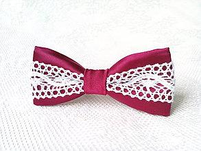 Ozdoby do vlasov - Folklore hair bow (bordeaux/white) - 7309233_